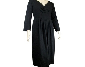 Plus Size Empire Waist Dress -Eco Friendly, Natural Fiber Jersey -Womens Made to Order-Choice of Color and Sleeve -XL,2X,3X,4X,5X,6X,7X,8X+
