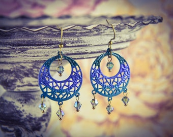 Hand Painted Turquoise Ombre Bronze Filigree & Crystal Earrings [E32]
