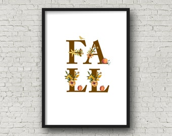 FALL Floral Alphabet Printable, DIY Wall Art, Cards, Crafts, Easy to download and print.