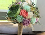 Alternative Bridal Bouquet - Succulents, Sola Flowers, Keepsake Bouquet, Sola Bouquet, Rustic Wedding