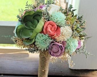 Alternative Bridal Bouquet - Succulents, Sola Flowers, Keepsake Bouquet, Sola Bouquet, Rustic Wedding