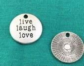 20pcs Antique Silver Round Disc Live Laugh Love Tag Charm Pendants 20mm M106-1