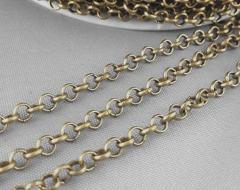 16ft 5 meters of 3.6mm Round Bronze Color Solid Brass Cable Link Chains Antiqued