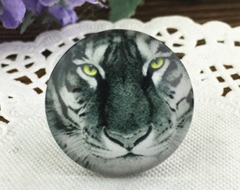 4pcs 25mm Round Handmade Photo Glass Cabochon - Tiger