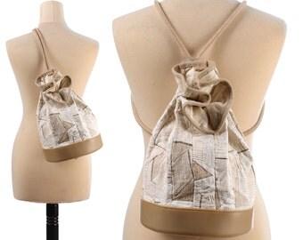 Linen BUCKET Bag 90s Adjustable Transformable Backpack Boho Medium Purse Patchwork Cream White Drawstring Festival Shoulder Yoga Hobo Bag