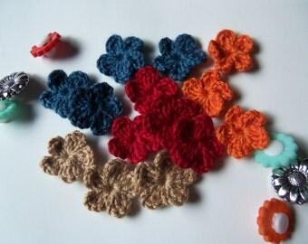 Dark Color Mini Crochet Flowers. Handmade Crochet Flowers.
