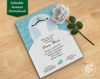 Turquiose Bridal Shower Invitation Template, Wedding Shower Invitations - Dress on Hanger Turquiose