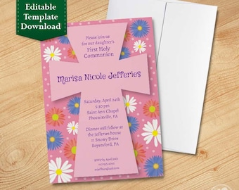 Flowers with Cross Religious Invitation Template - First Communion Invitations, Baptism Invitations, Christening Invitations