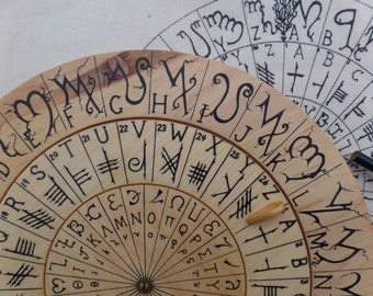 Cypher Wheel Cipher Disk Theban, Ogham, Enochian, & Celtic Rune Scripts, Cryptography, Secret Codes, Adventure Treasure Hunt, Unique Gift