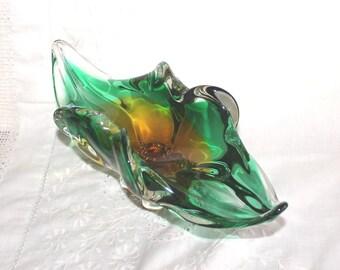 Josef Hospodka glass bowl. Chribska glassworks - Czech Bohemian Art Glass