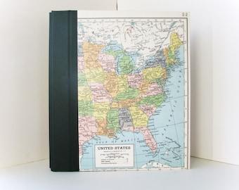 Large Customized Photo Album with Vintage Map of USA  **150 Photographs**