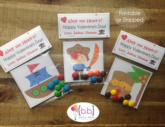 Valentine's Day Card Personalized- Pirates- Candy Treat Bags- Printable or Shipped