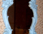 Vintage, Syroco Mirror Shelf, Blue Mirror, Wall Decor, Painted Mirror,