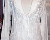 SALE,Upcycled, White, Boho Sweater,Romantic Lace, Shabby Chic,Boho Festival