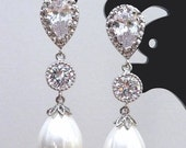 Wedding Earrings Bridal Earring White Teardrop Pearl, Round CZ Drop with White Gold Plated Peardrop Cubic Zirconia Post Earring