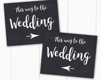 "Wedding Directional Arrow Signs 8x10"", Chalkboard Blackboard, Printable, Instant download"