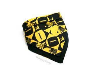 Herk -  Black & Yellow Football Themed Printed Reversible Bandanna Bib   One Size   Iowa Hawkeyes