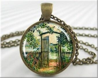 Monet Garden Gate Necklace, Resin Charm, Claude Monet Art Pendant, Impressionist Art Jewelry, Bronze Round, Gift Under 20 (734RB)
