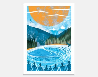 Unsung Heroes - A4 or A3 Art Print  / bright wall art / landscape illustration / whale / forest / mountains / sea / blue / environment /