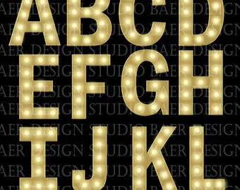 DIGITAL MARQUEE LETTERS, Digital Font, Letter Clipart, Alphabet Letters, Digital Marquee Alphabet, png Letters, Marquee Font, #1506