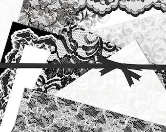 Lace Digital Paper:Black Lace Digital Paper,  Lace Background Digital Paper, Chantilly White Lace Digital Paper, #15122