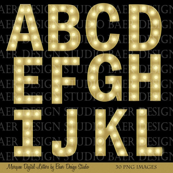 marquee lettersdigital fonts gold marquee letters With marquee alphabet letters