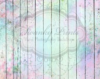 SWANKY PRINTS ORIGINAL 8ft x 8ft Easter Painted Wood Floor / Vinyl Photography Backdrop / Spring