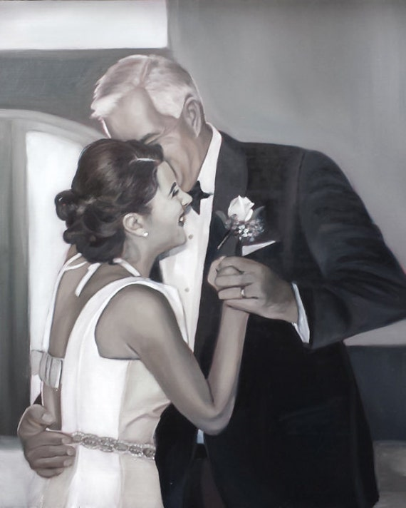 CUSTOM WEDDING PORTRAIT - Custom Painting - Father's Day, Birthday or Anniversary Gift