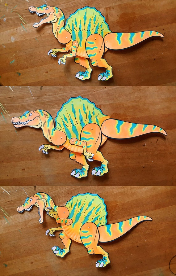 Stegosaurus and Spinosaurus paper plate DIY kids craft paper doll 2 in 1 project
