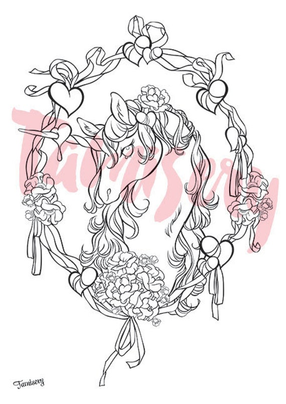 Valentine Unicorn 8 5x11 Printable Coloring Page Adult
