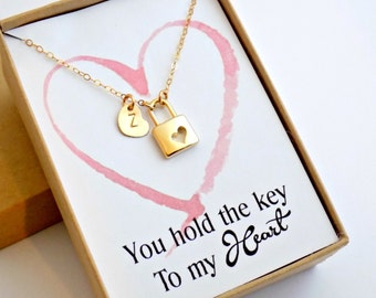 Heart Lock necklace GOLD you hold the key to my heart jewelry gift, gift for girlfriend gift for daughter personalized heart initial charm