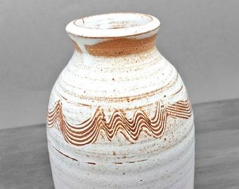 Cream White Hand-thrown Artisan Bud Vase or Oil Diffuser - Vintage Studio Pottery