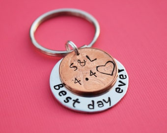 Best day ever Initial and date penny keychain. Wedding gift.  Anniversary Gift.