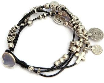 Leather multi strand leather bracelet, bohemian bracelet, gipsy jewelry, coin jewelry