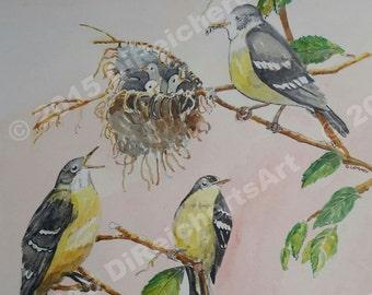 Painting-Watercolor-Birds-Nature Art-Original Art by Diann