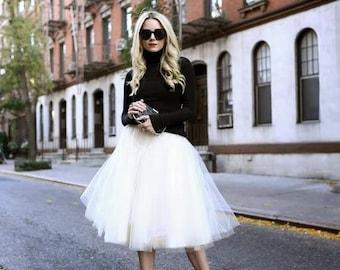 White tulle skirt, tutu skirt,