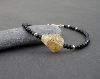 Faceted Golden Rutilated Quartz,  Faceted Black Onyx Rondelle, 14kt Yellow Gold Filled Bracelet, Black and Gold