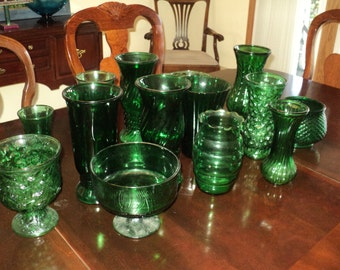 Vintage collection of  14 Great Green Glass Vases, A collection of Stamped Pressed Molded Glass Vases in Mint Condition