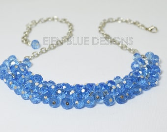 Blue Crystal Necklace, crystal necklace,  blue bridal jewelry, blue bridesmaids gift, blue chunky necklace, something blue, sparkly necklace