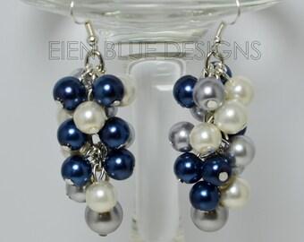 Pearl Earrings, Navy, Gray and Ivory Earrings, cluster earrings, pearl cluster earrings, bridal earrings, navy earrings, navy pearl earrings