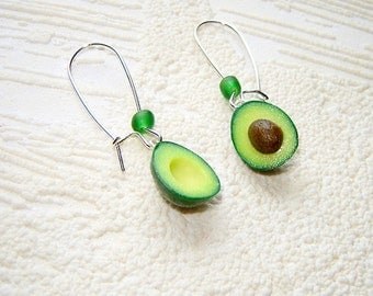 Avocado Earrings - Polymer Clay - Food Jewelry - Gift For Her