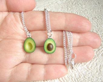 Pair necklaces. Best friends TINY (1/2 inch) avocado halves Necklaces. Polymer clay food. Real look avocado.