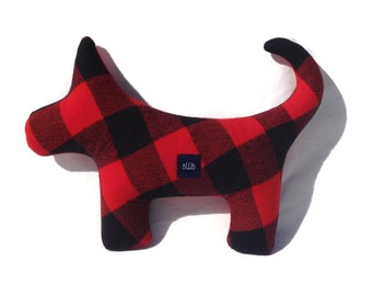 Squeaky Plush Dog Toy in Red and Black Buffalo Plaid Flannel