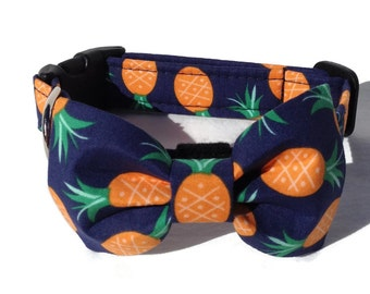Pineapple Dog Bow Tie and Collar Set  for Small to Large Dogs