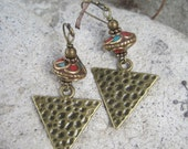 Nepal Beaded Earrings, Tibetan Turquoise and Coral Inlay Beads with Brass Textured Triangle Charms