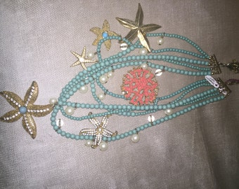 Vintage Ocean Beach Necklace Jewelry Starfish and Coral Beaded NEW CONDITION