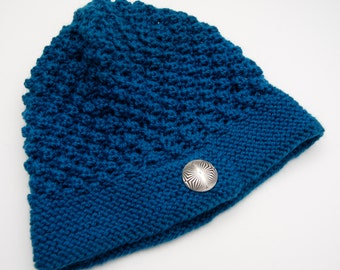 Knit blue hat, turquoise hat, blue beanie, turquoise beanie, wool hat, wool beanie, slouch hat, slouch beanie, button hat, button beanie