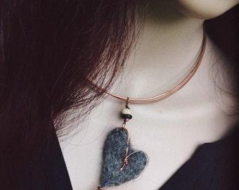 Heartfelt:  Heart choker, felted heart, copper choker, adjustable choker, wonky heart choker, wire heart, grey heart