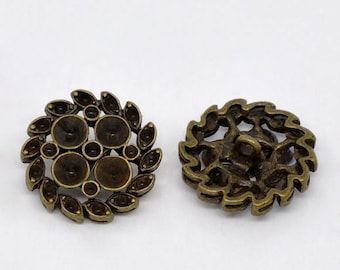 50 Bronze Buttons - WHOLESALE - Antique Bronze - Holds Rhinestones - Shanks - 23mm - Ships IMMEDIATELY from California - A473b
