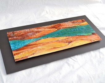 """Renovatus - Fused Glass Wall Hanging Art - Mixed Media Glass Painting with Relief Surface - 12""""x24"""""""